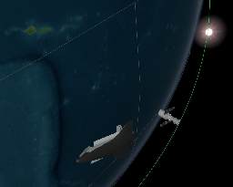 The Shuttle and Hubble are now (16:35 CET) at a distance of approximately 600 km. Here are two images of their relative positions. NB: The sizes of the spacecrafts have been exaggerated 10.000 times, and the orientation (attitude) of Hubble is the predicted one, not the actual one (which was upside down). 3D graphics: ESA Virtual Reality Lab, Erasmus User Centre.