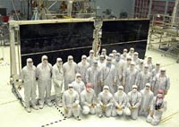 Hubble's new Solar Panels in a clean room before launch.