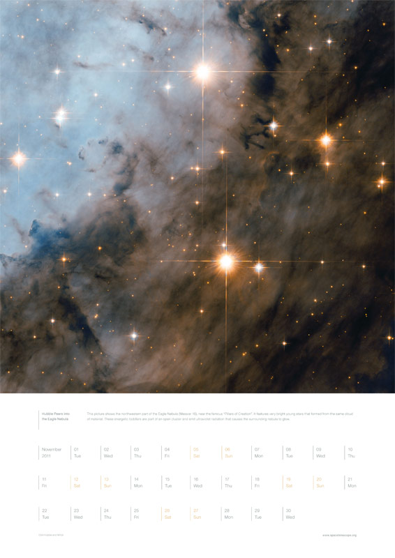 November 2011 – Hubble Peers into the Eagle Nebula
