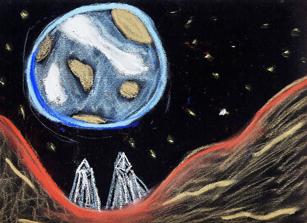 looking at drawing the moon from earth - photo #33