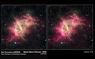 Spitzer image of star formation in RCW49 in 3D