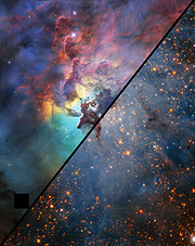 Comparison image of the Lagoon Nebula in optical and infrared