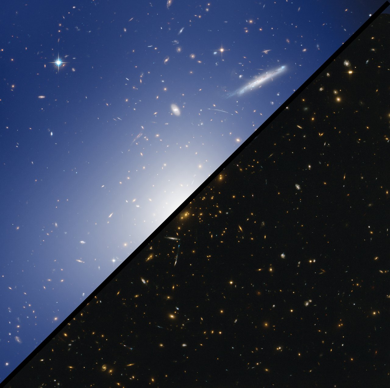 Comparison image: Hubble and HAWK-I explore a cluster with the mass of two quadrillion Suns