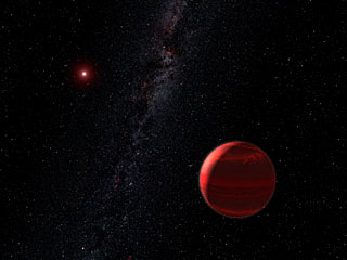 Red dwarf star CHXR 73 A and companion object (artist's concept)