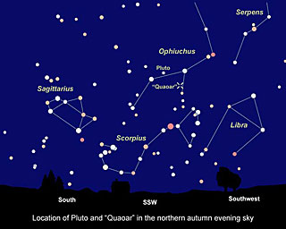 "Sky Chart Showing Location of KBO ""Quaoar"
