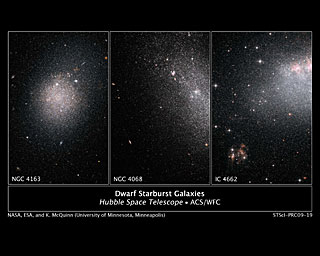 Hubble spies a frenzy of star birth in dwarf galaxies (montage)