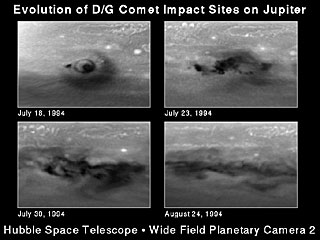 Evolution of D/G Impact Sites on Jupiter