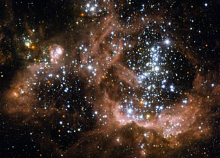 Young stars biting the cloud tha