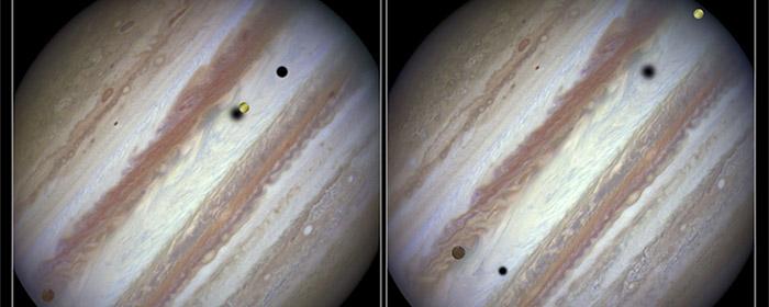 De 3 måner foran Jupiters planetskive