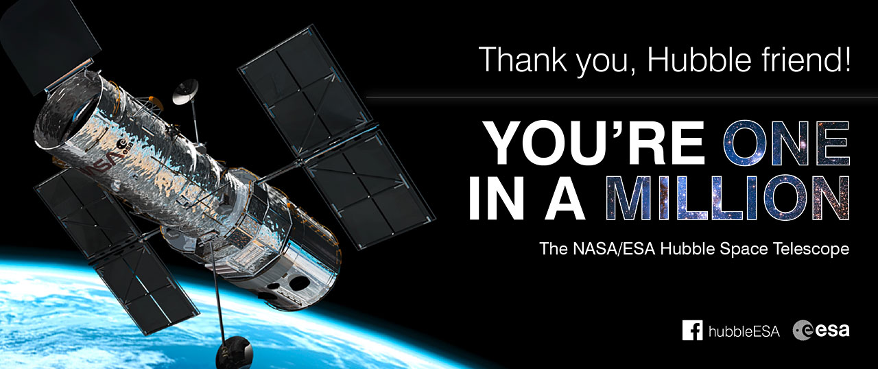 Promotional image for the ESA/Hubble one million Facebook friends campaign