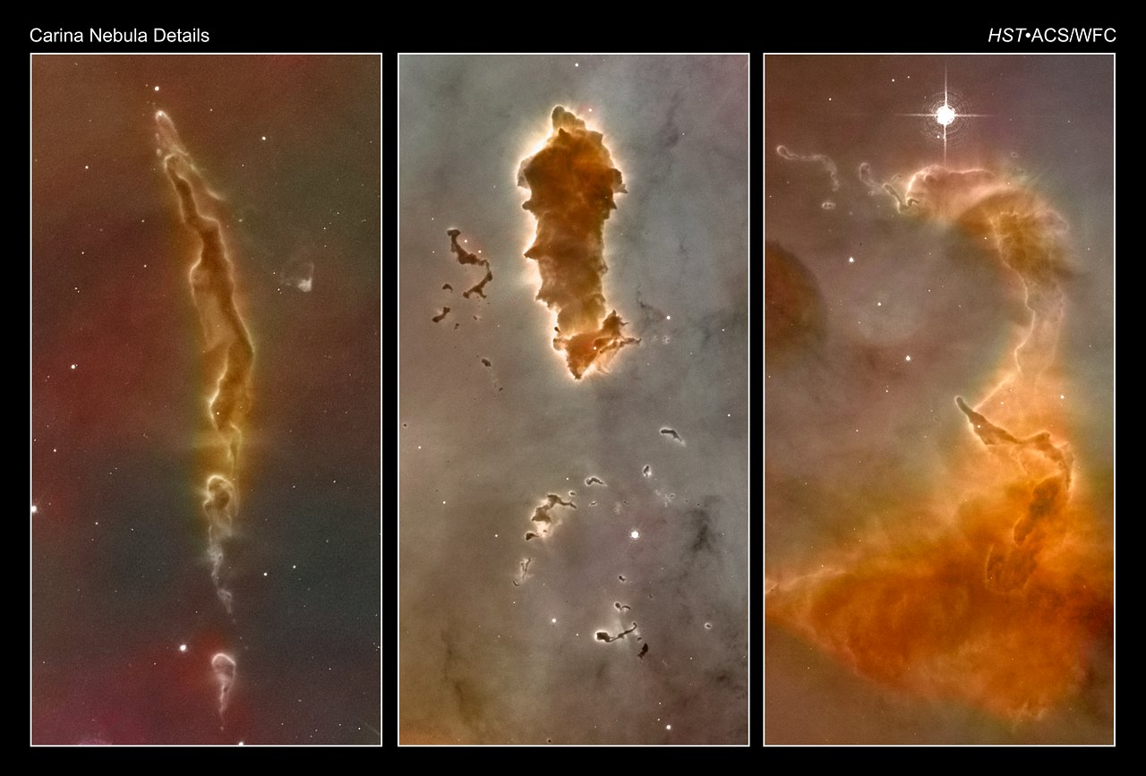 Image above: Bok globules in the Carina Nebula, as seen by the Hubble  title=