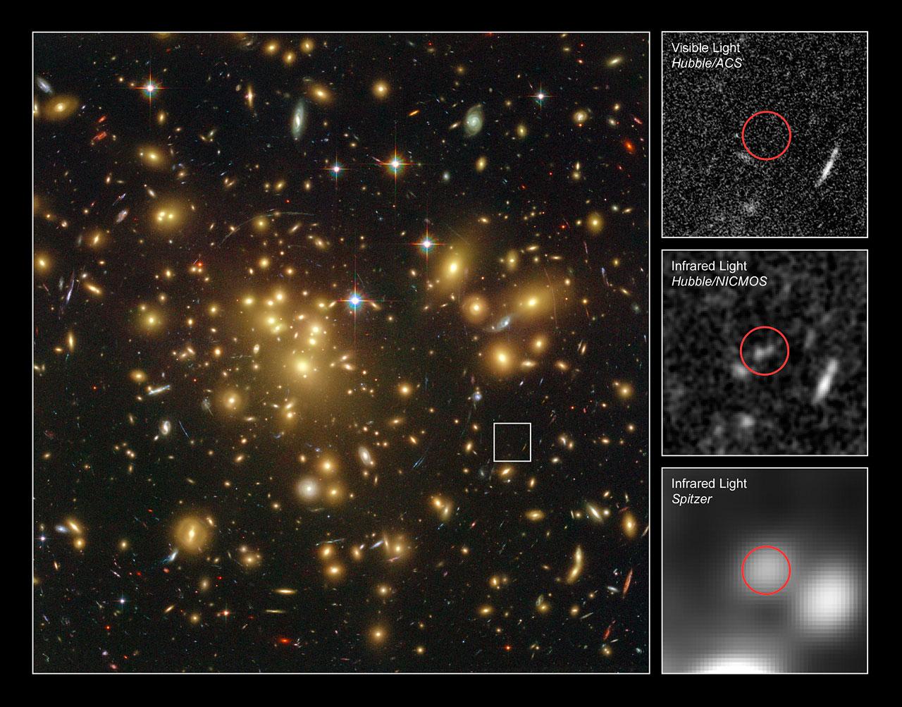 Une galaxie cachée dans les premiers temps de l'univers