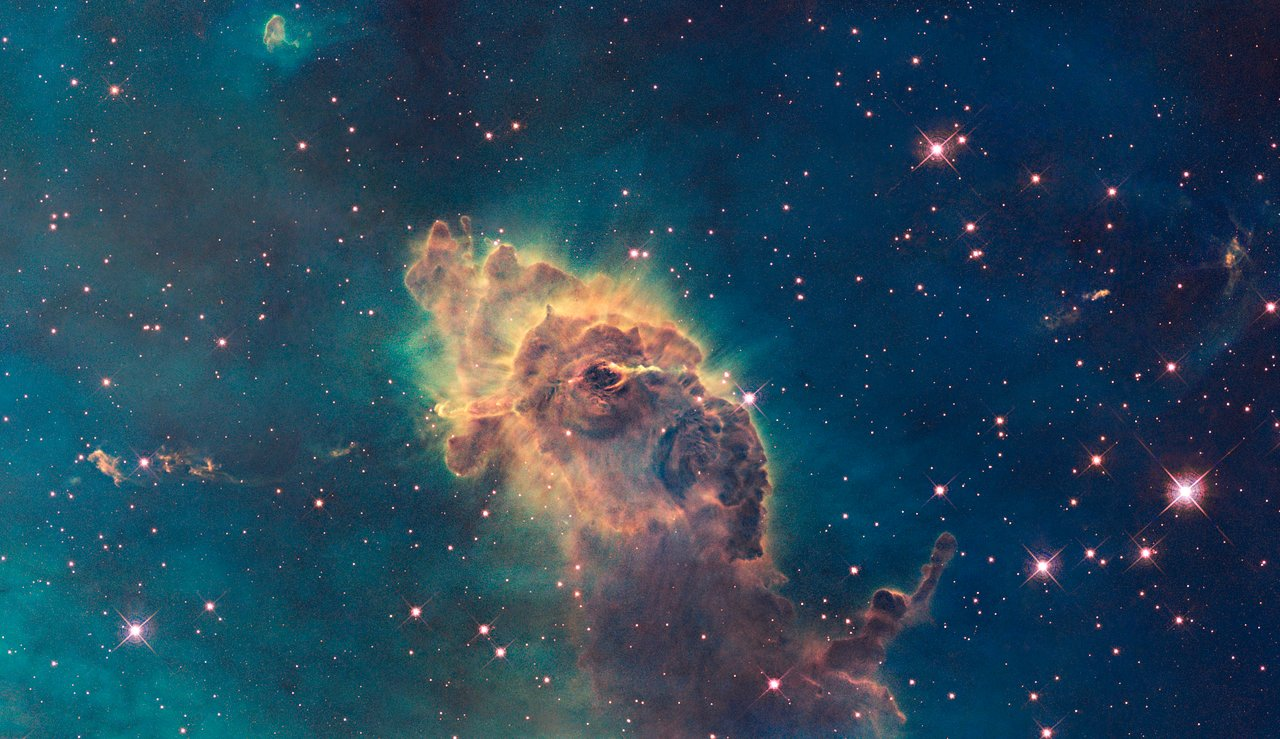 Part of the Carina Nebula imaged in visible light by WFC3