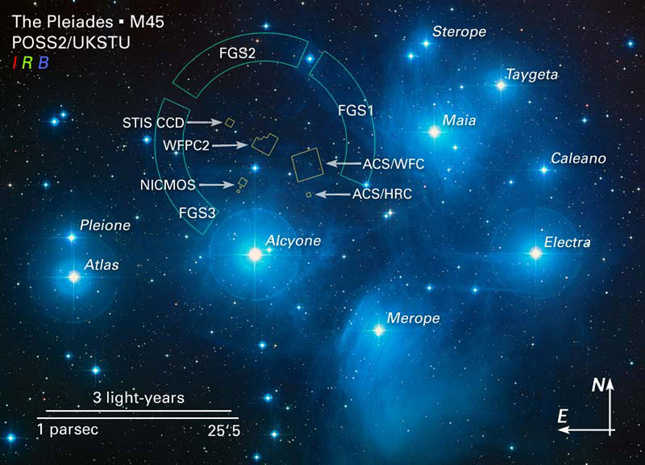 Annotated Image of the Pleiades and HST Field of View ...