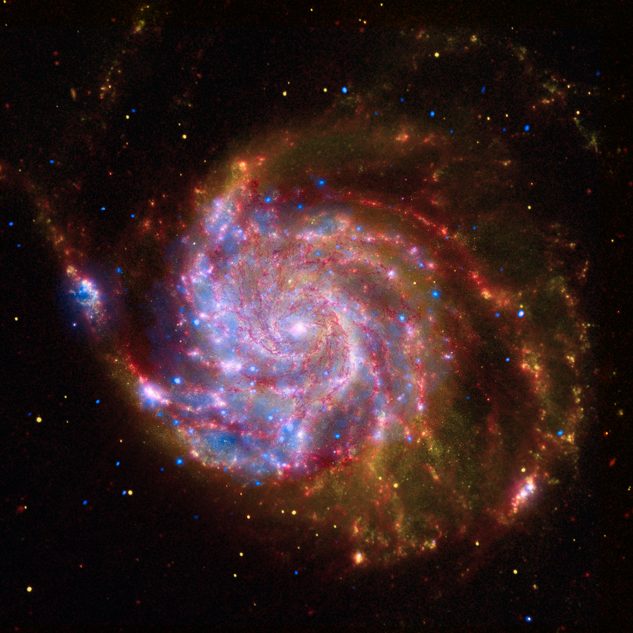 Spitzer-Hubble-Chandra Composite of M101 | ESA/Hubble