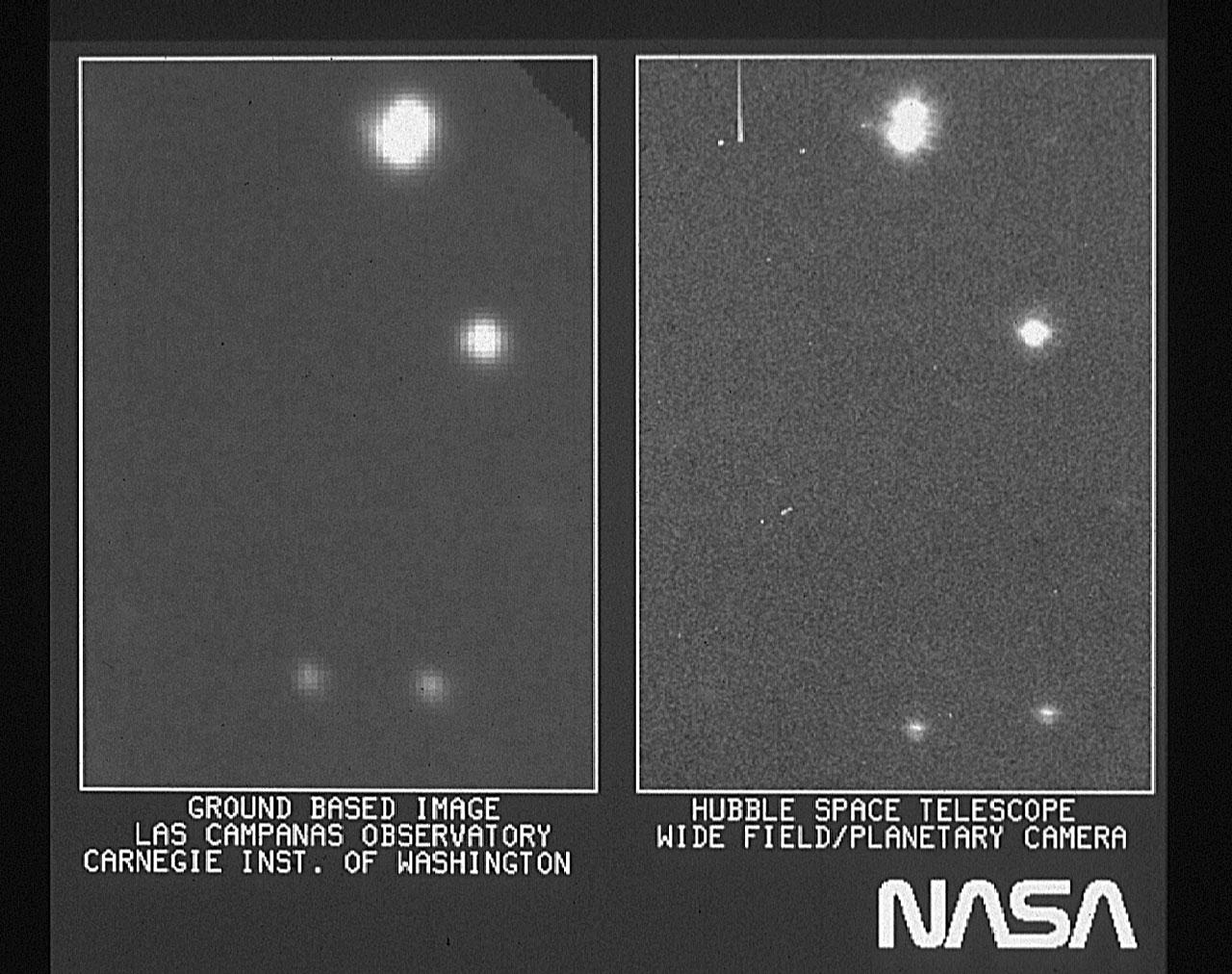 Parte de la primera imagen tomada por el telescopio espacial Hubble comparada con la misma imagen tomada desde Tierra.  Si bien parece mejor, lo es solo por un factor muy pequeño, un reflejo de su miopía precoz (crédito: NASA)