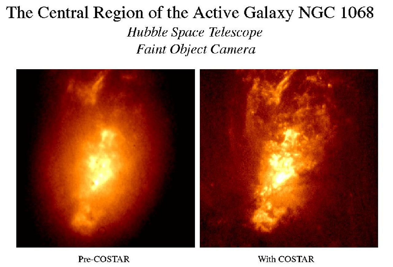 Two images taken of the same region before and after the correction of Hubble's aberration with COSTAR.