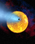 European astronomers observe first evaporating planet (artist's impression)