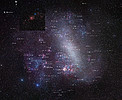 The entire Large Magellanic Cloud with annotations (ground-based image)