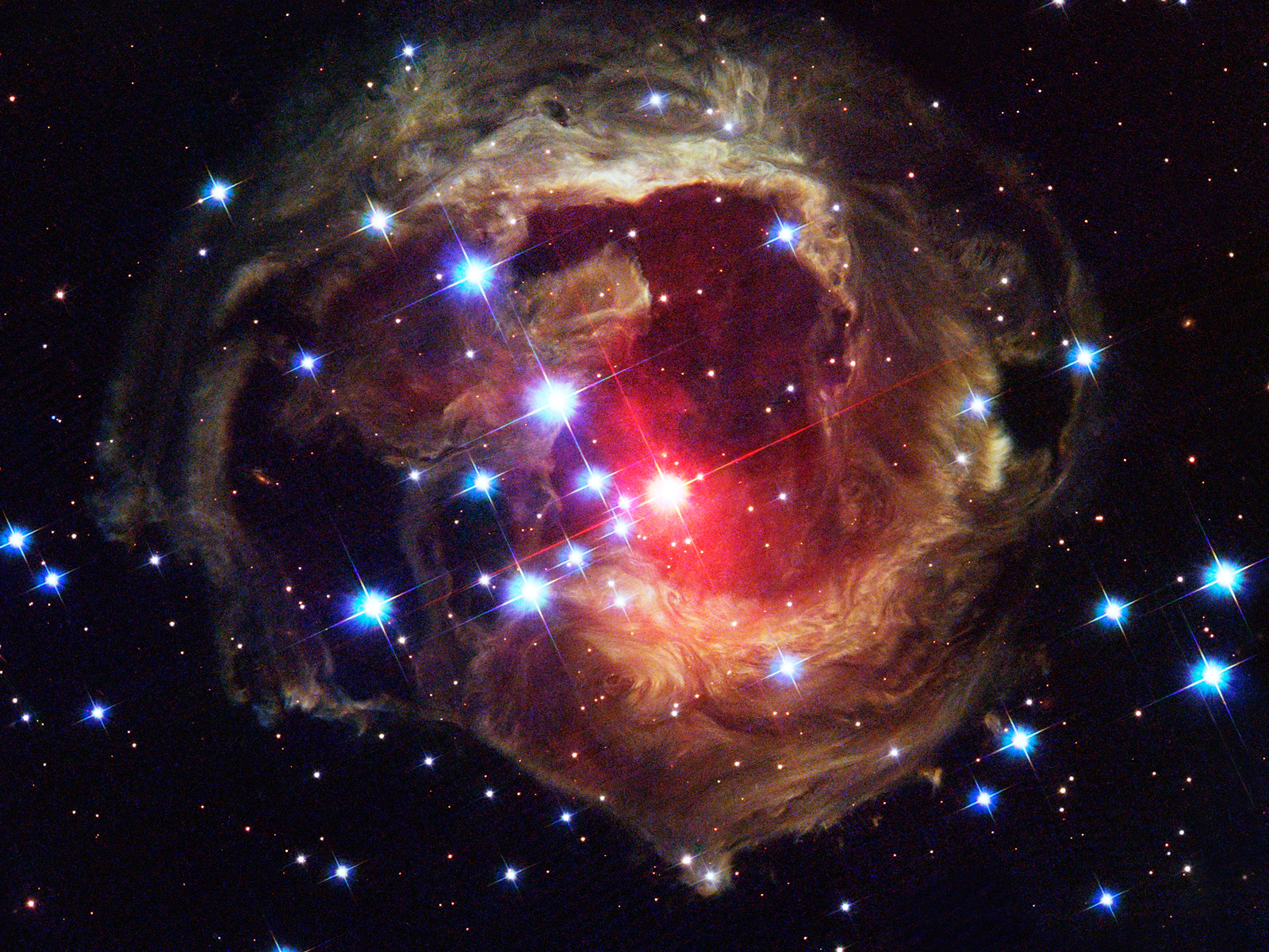 Continues to echo three years after stellar outburst esa hubble