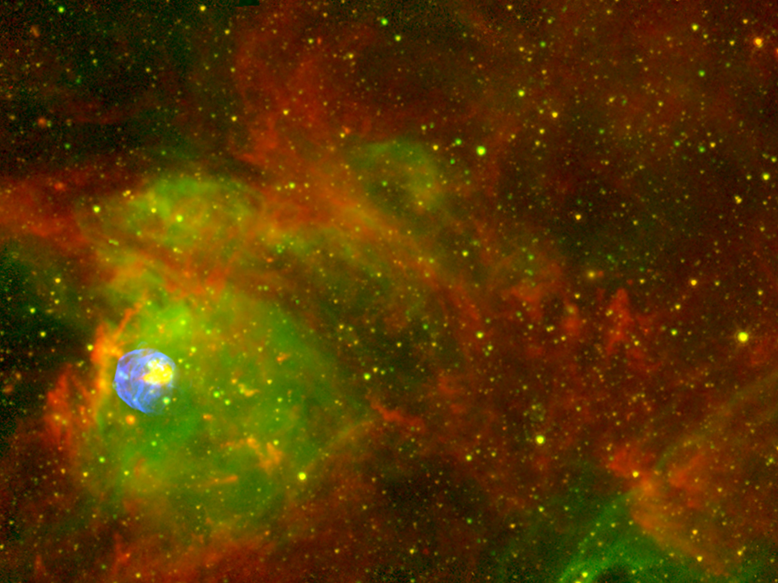 Spitzer chandra ctio image of n 63a wide field esa - Spitzer space telescope wallpaper ...