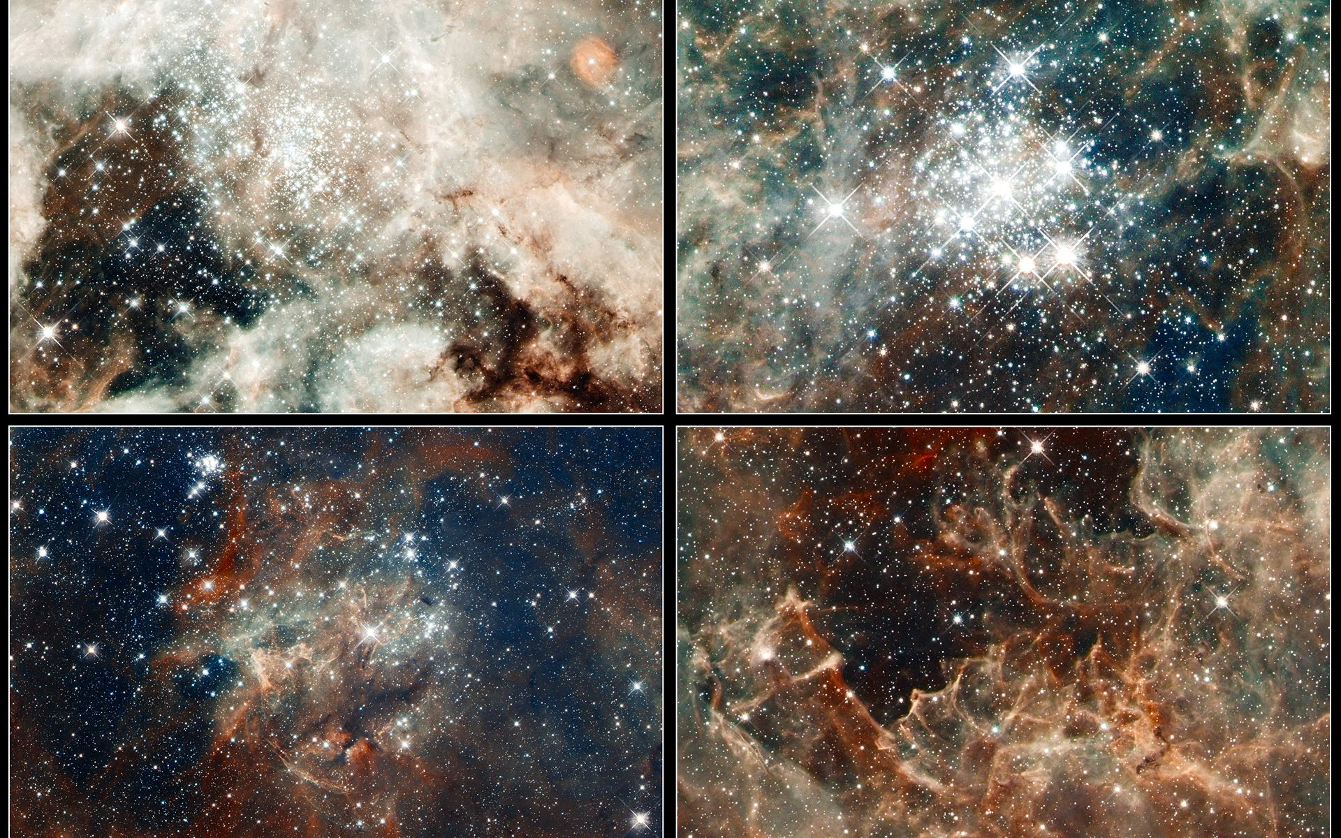 Close-up images of features in the Tarantula Nebula   ESA ...