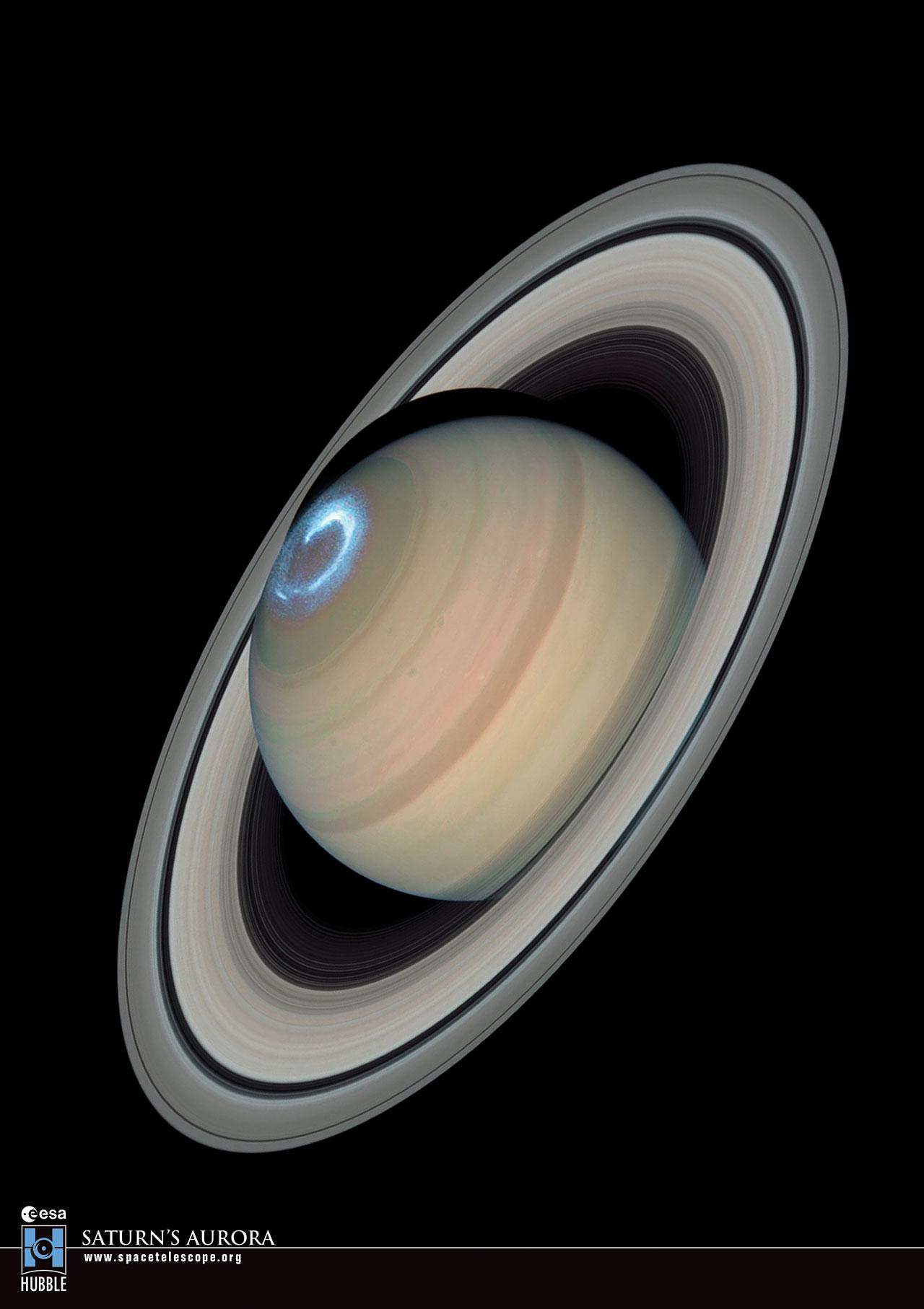 Postcard08 Saturn S Aurora Esa Hubble