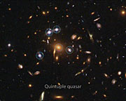 Quintuple quasar galaxy cluster (annotated)