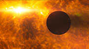 HD 189733b transits its parent star during stellar flare (artist's impression)
