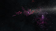 Artist's impression of starburst regions in a dwarf galaxy