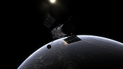 Hubble and the sunrise over Earth (artist's rendering)