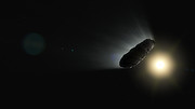 Animation of `Oumuamua outgassing and rotating