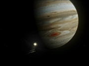 Comet Shoemaker Levy colliding with Jupiter